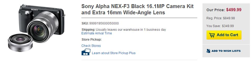 sony nex f3 deal