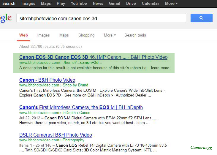 Canon EOS 3D appears in B&H search result, indexed by Google
