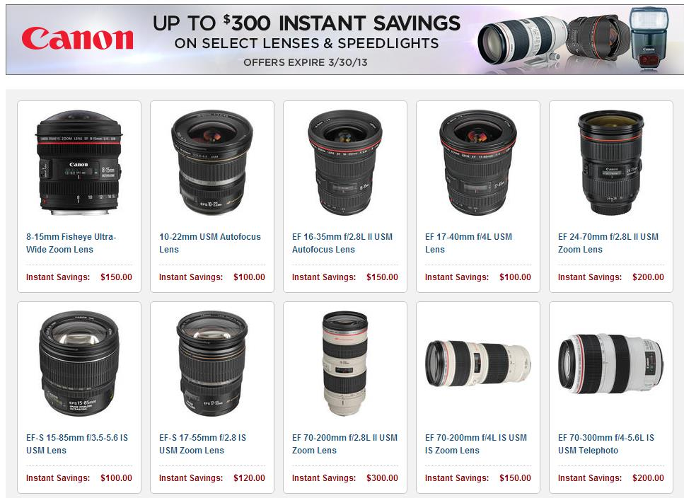 Up to $300 off Canon Lens & Speedlite Instant Rebates End Tomorrow