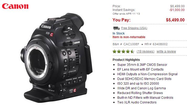 Deal – Canon EOS C100 got $1,000 off ! – Camera News at