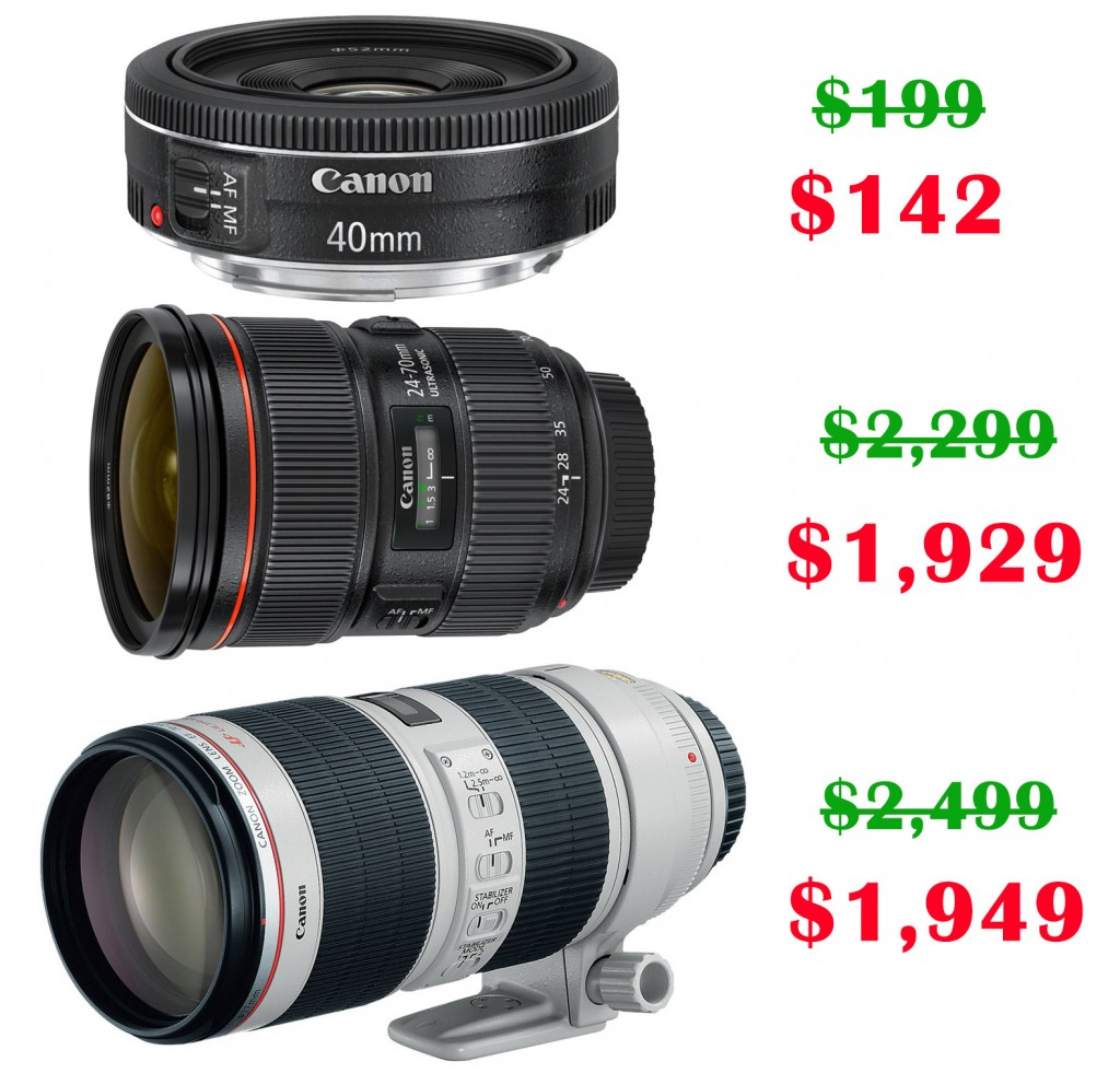Canon EF 40mm f/2.8 STM, Canon EF 24-70mm f/2.8L II USM, Canon EF 70-200mm f/2.8L IS II USM Lens