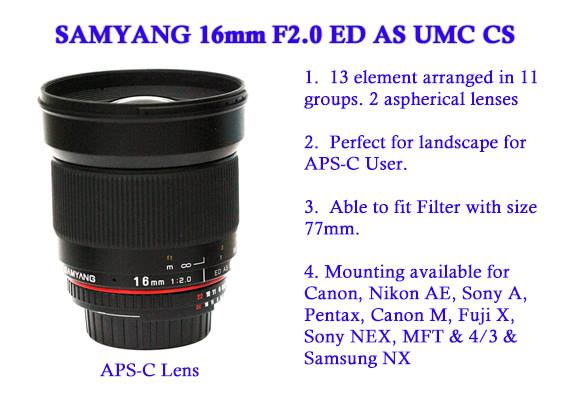 Samyang 16mm F2.0 ED AS USM CS lens
