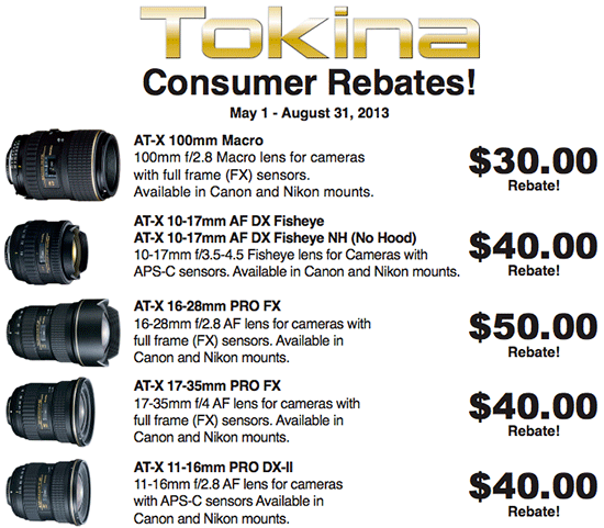 Up to $50 off Tokina mail-in rebates now available – Camera News at ...