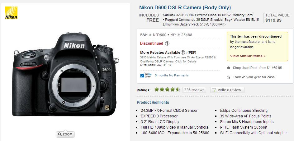 d600 discontinued