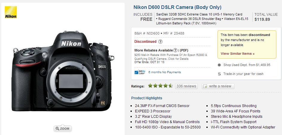 d600 discontinued