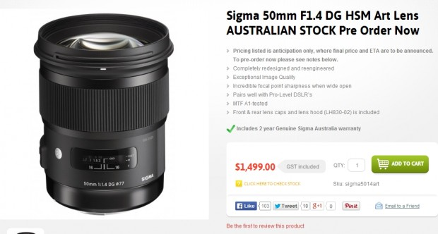 sigma 50mm f 1.4 dg art price