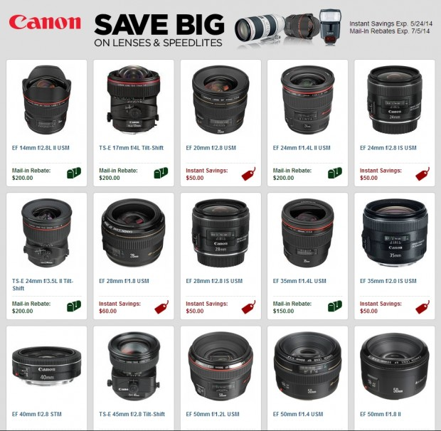 Save up to $450 on Canon DSLRs, Lenses, Speedlites Rebates