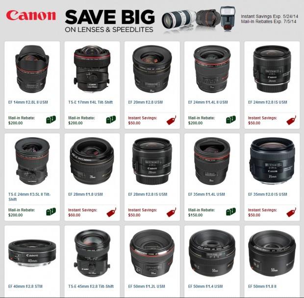 canon lenses rebats