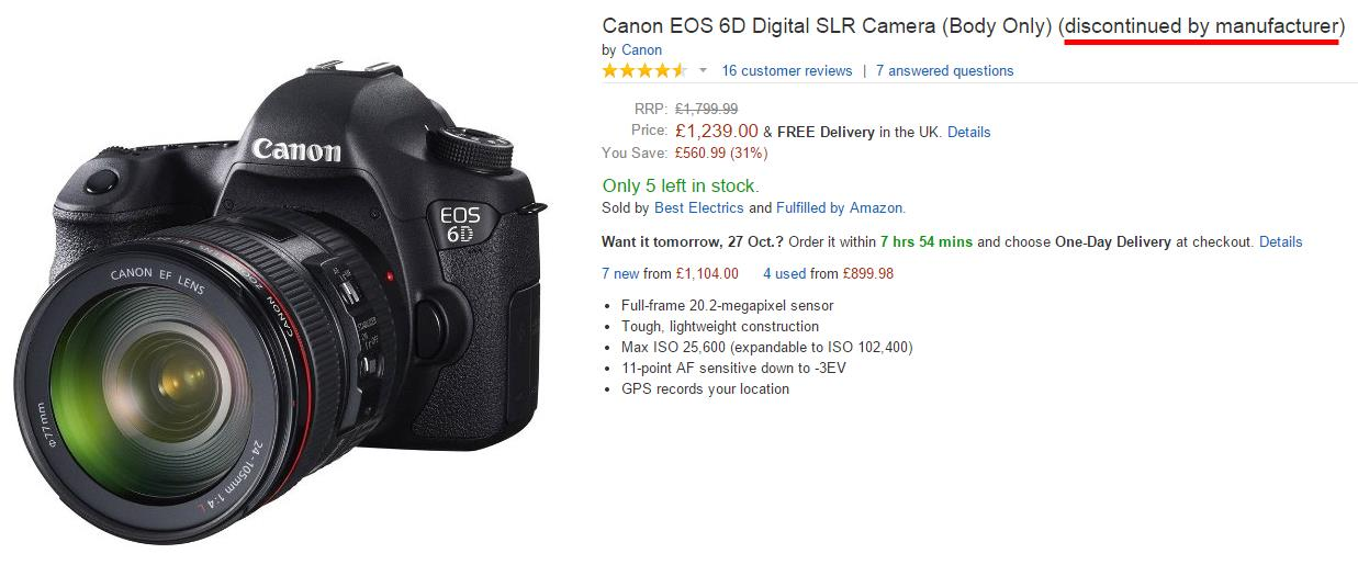Canon EOS 6D Listed as Discontinued at Amazon UK – Camera News at ...