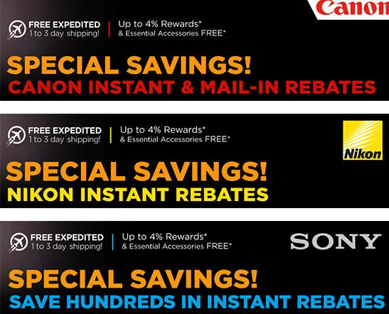 canon nikon sony rebates