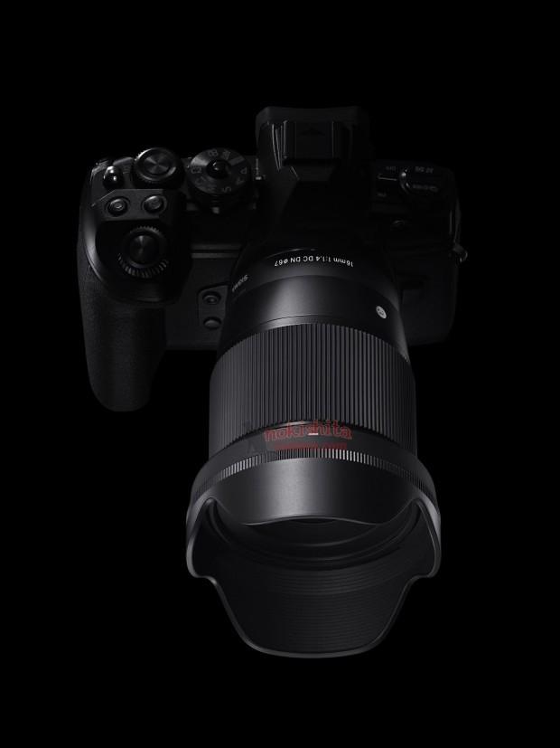 sigma 16mm f 1.4 dc dn sony e lens on