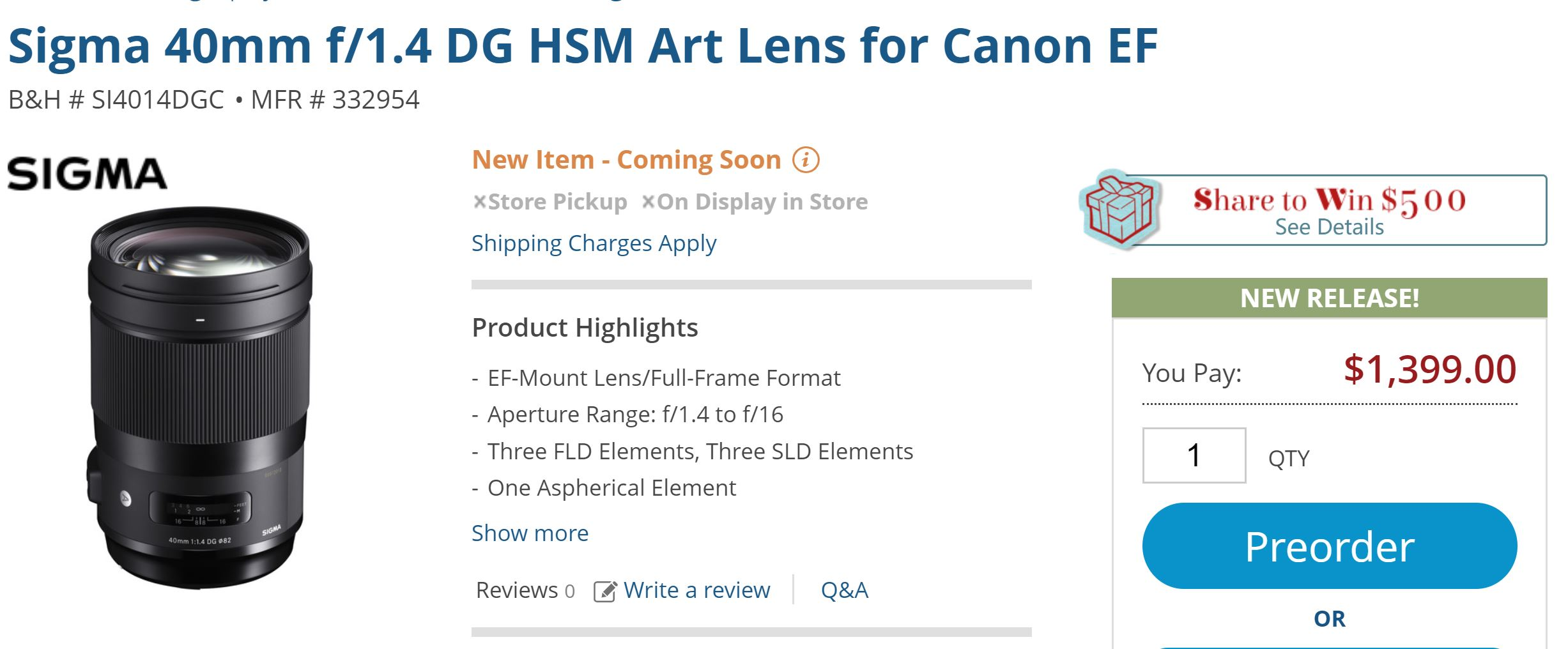 Sigma 40mm f/1 4 Art Lens for $1,399, 56mm f/1 4 DC DN C for