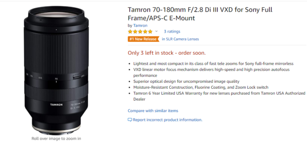 Tamron 70-180mm F2.8 Di III VXD Lens Available in Stock at Amazon !