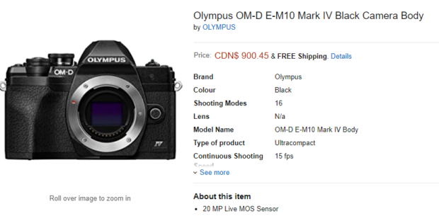 Olympus OM-D E-M10 Mark IV Available for Pre-Order at Amazon Canada